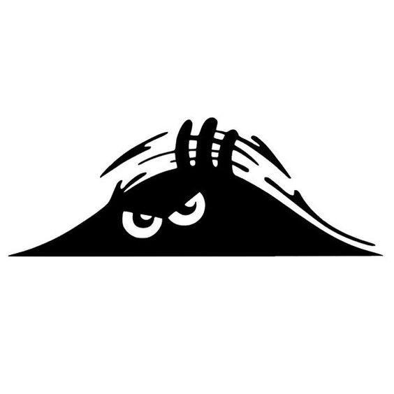 Peeking Monster Scary Eyes Car Decal Sticker dxf File