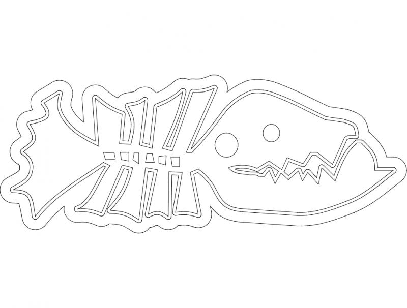 Fish Line Art dxf File