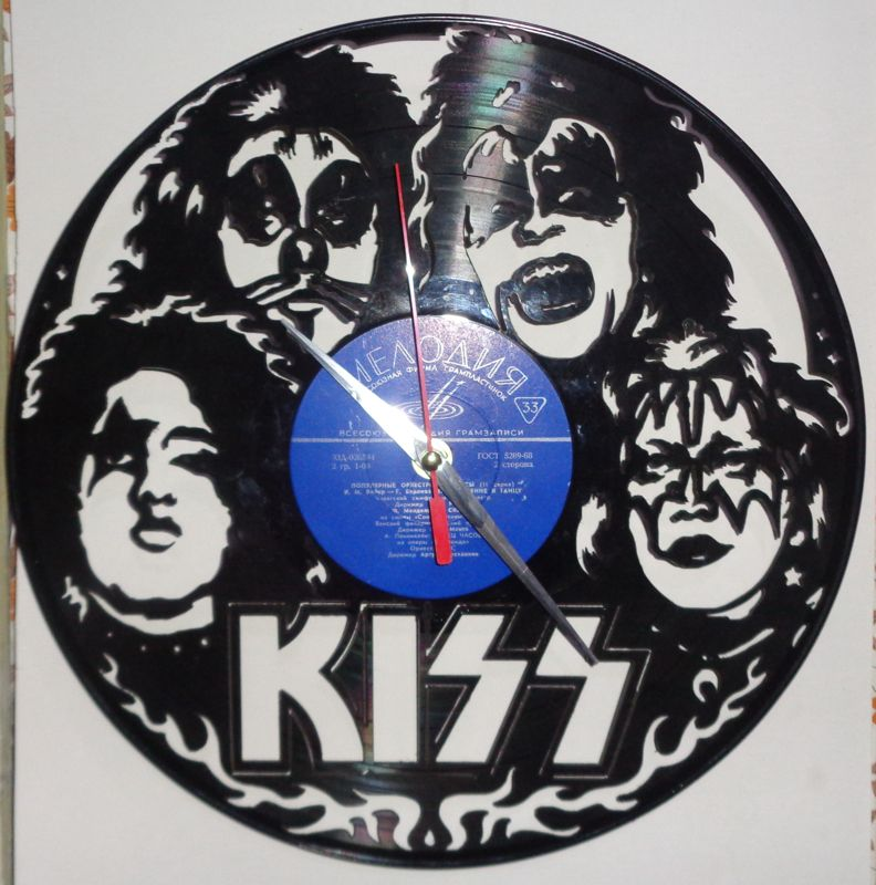Vinyl Record Wall Clock Kiss DXF File
