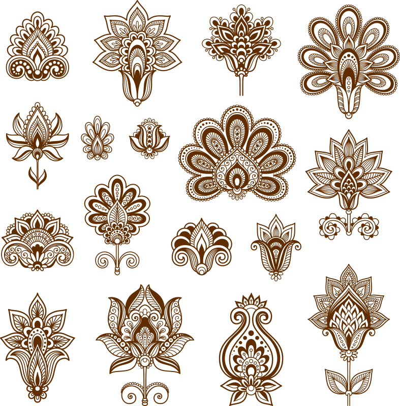 Henna Set of ornamental stylized flowers