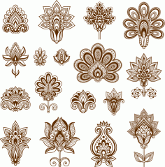 Henna Set of ornamental stylized flowers Free Vector