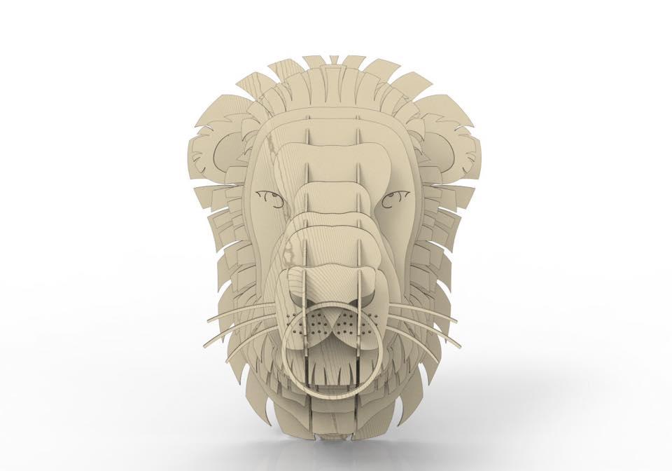 Lion head 3D puzzle Free Vector
