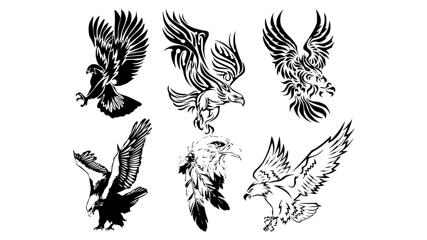 Awesome Tribal Eagle Tattoos Free Vector