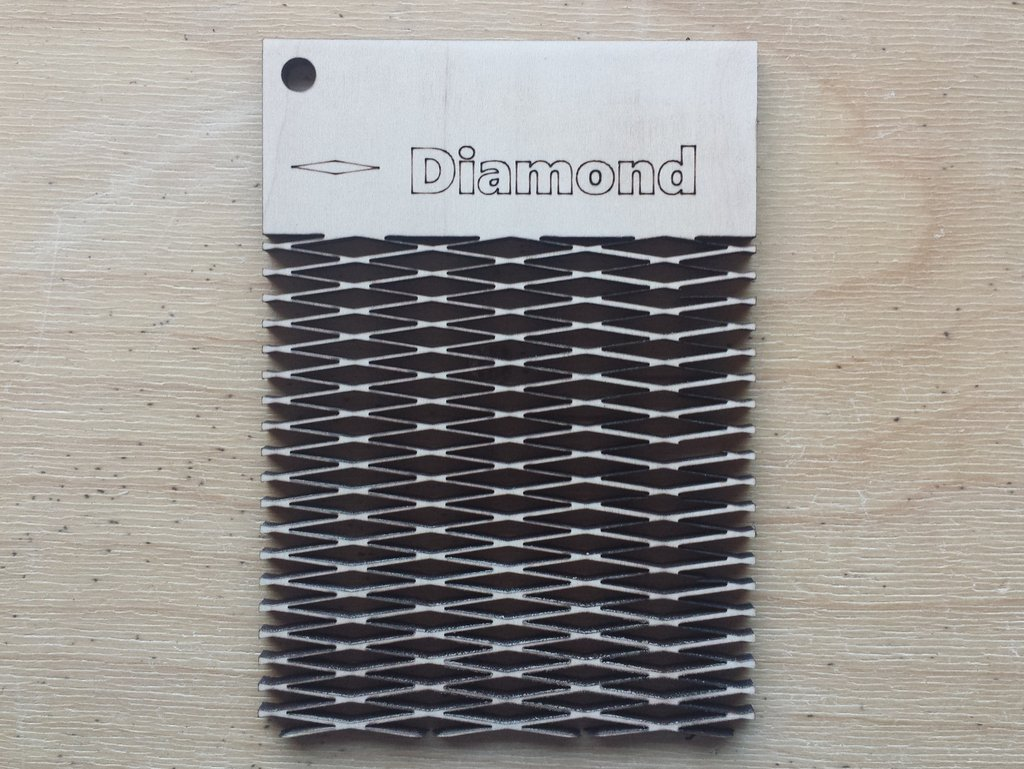 Diamond Pattern Living Hinge Template for Laser Cut DXF File