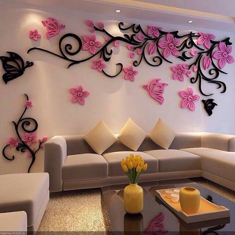3D Flower Acrylic wall stickers butterflies dancing CDR File