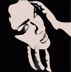 Vector of Woman with hands on face CDR File