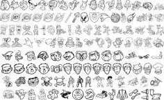 Mix Cartoon Line Art Vector Pack