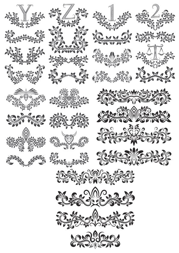 Floral Alphabet Decor Elements Free Vector