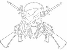 Arfcom skull ar2nd dxf File