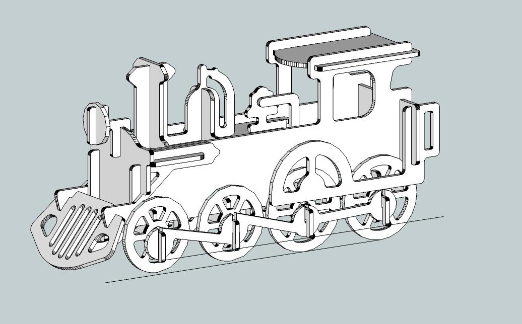 3D Locomotive Model dxf File