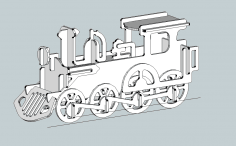 3D Locomotive Model dxf File