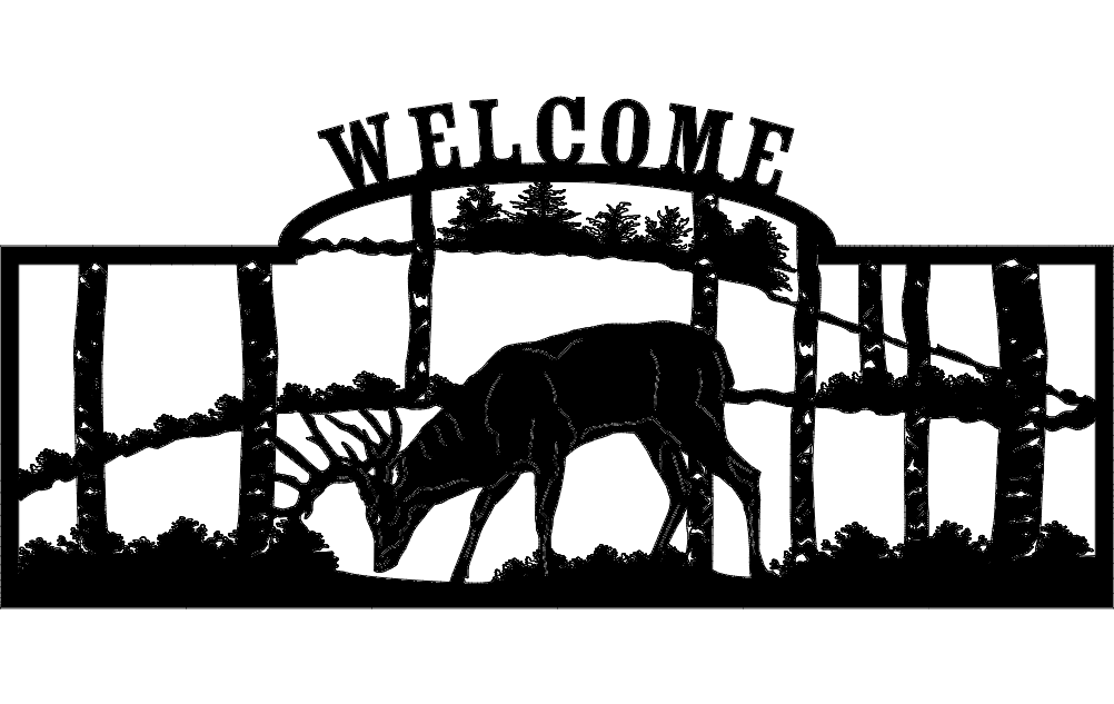 Welcome Sign Deer dxf File
