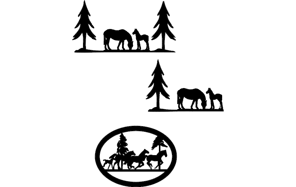 Horses Pine Trees dxf File