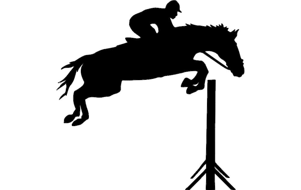 Jockey Horse Jumping Hurdles dxf File