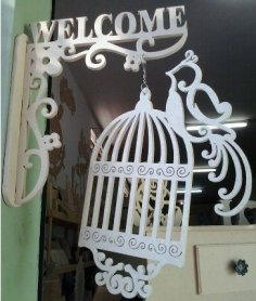 Welcome Sign with Bird Cage