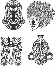 Indian Aztec African Historic Tribal Mask Vector Free Vector