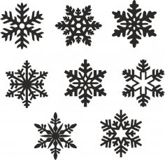 Christmas snowflake icons set vector Free Vector