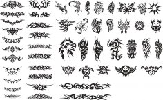 Patterns of Tribal Tattoo Vectors Free Vector