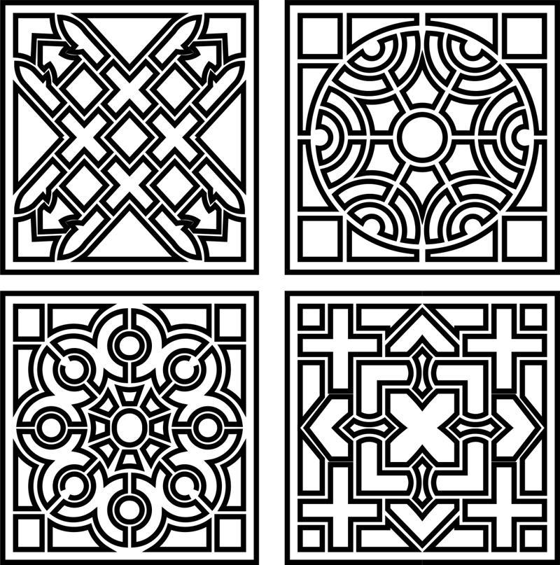 Decorative Monochrome Tile Pattern Design Free Vector