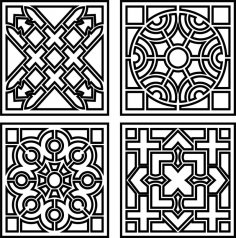Decorative Monochrome Tile Pattern Design Free Vector