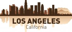 Los Angeles City Skyline Silhouettes Vector Set Free Vector