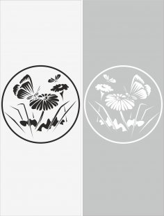Glass Floral Sticker Decal Vector Free Vector