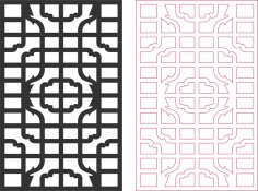 Window Frames pattern vector DXF File