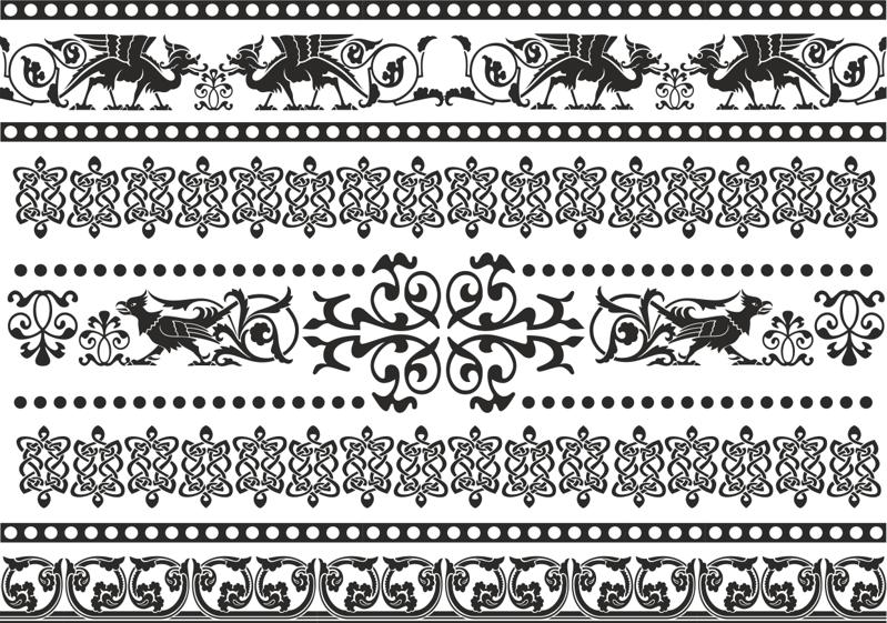 Celtic Patterns and Ornament Lace Patterns Free Vector