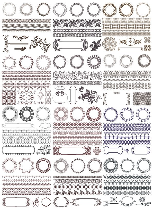 Decor Elements Set Free Vector
