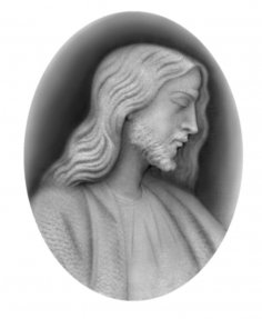 Christ 3D Relief Grayscale Image BMP File