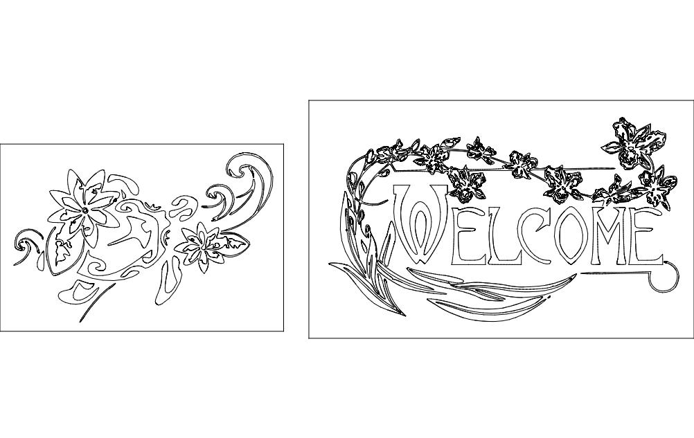 Welcome Design Turtle Design dxf File