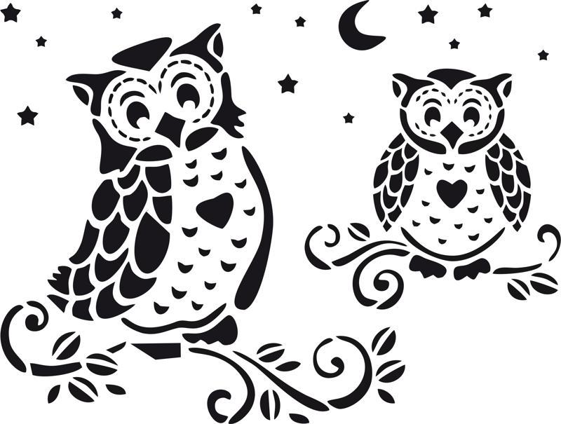 Owl Home Decor Stencil Vector Free Vector