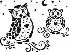 Owl Home Decor Stencil Vector Free Vector