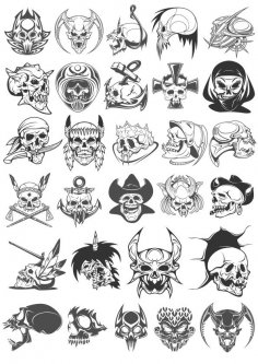 Skull Horror Vector Set Free Vector
