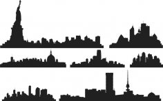 City Skyline Silhouette Ai File