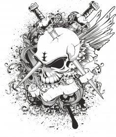 Skull Sw Print Free Vector