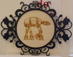 Laser Engraved AT-AT Walker In Laser Cut Decor Frame Free Vector
