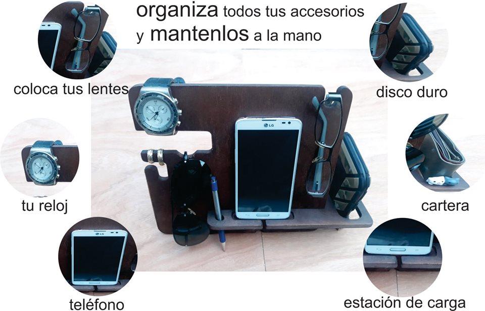 Laser Cut Phone Docking Station Glasses Holder Wallet Stand Watch Organizer Men Gift Free Vector
