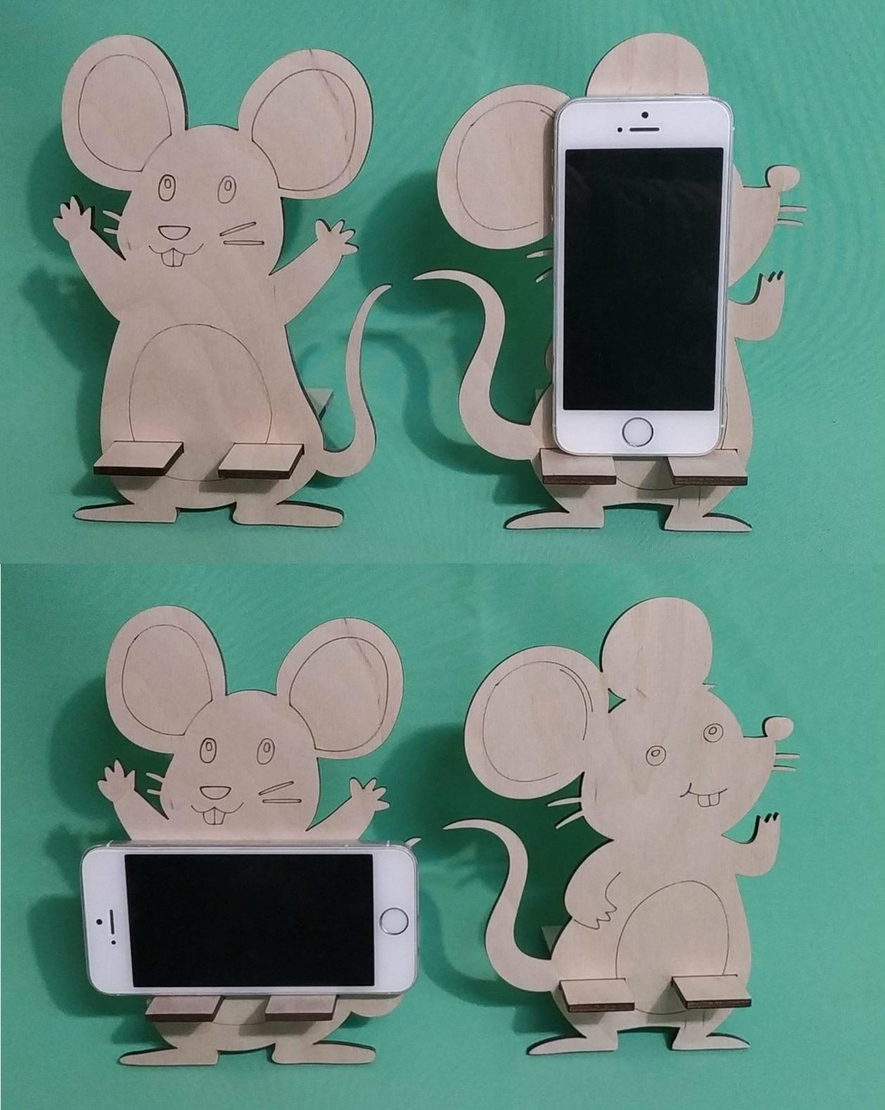 Mouse Mobile Phone Holder Creative Laser Cutting Template Free Vector