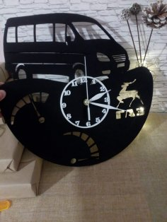 Van Vinyl Record Wall Clock Laser Cut Template Free Vector