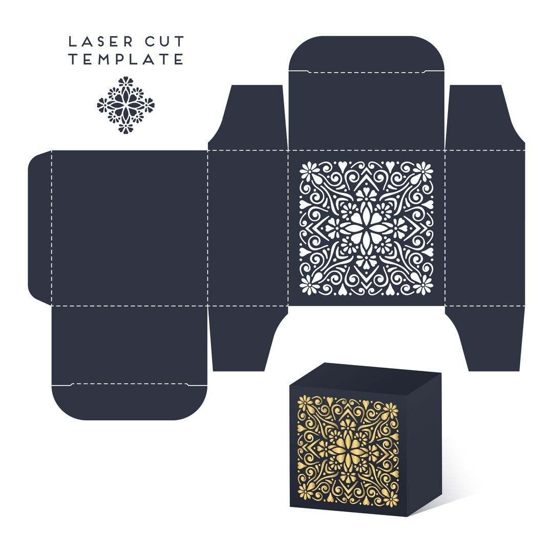 Laser Cut Wedding Favor Box Template Free Vector