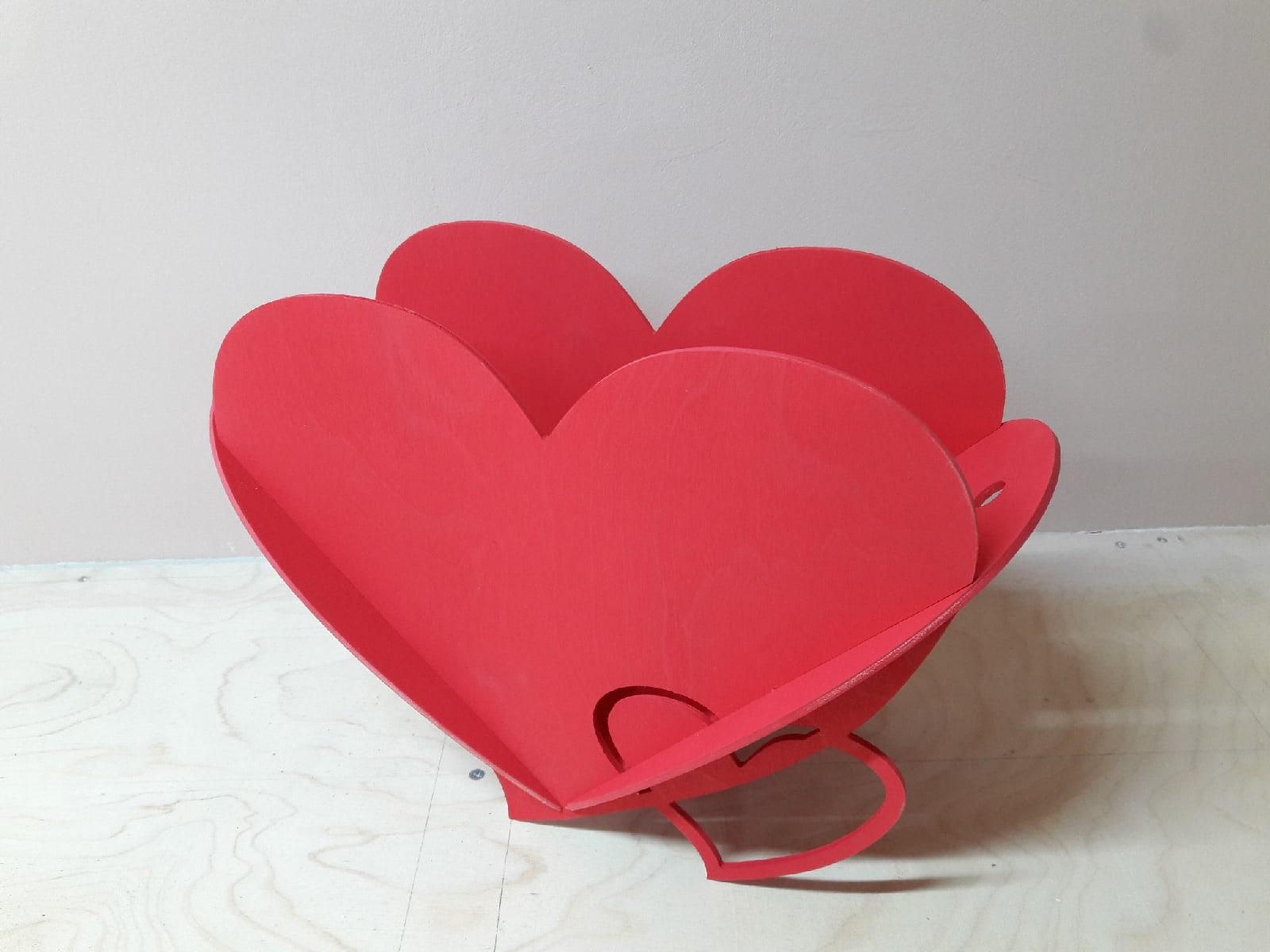 Laser Cut Double-Heart Shape Flower Basket Free Vector