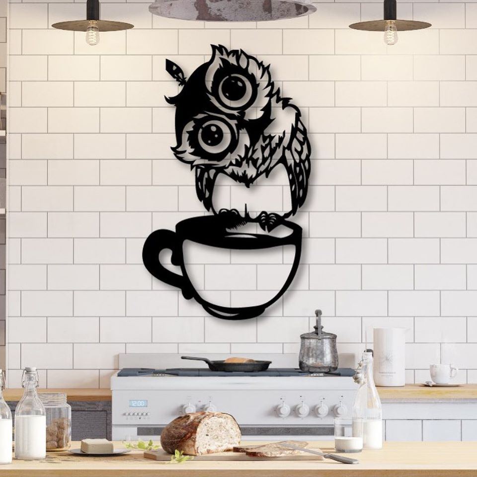 Laser Cut Kitchen Wall Art Owl Sitting On Cup Free Vector