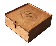 Wooden Gift Box with Lid and Lock Laser Cut CNC Free Vector