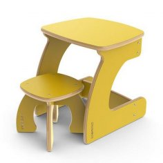 Laser Cut Kids Study Desk And Chair Free Vector