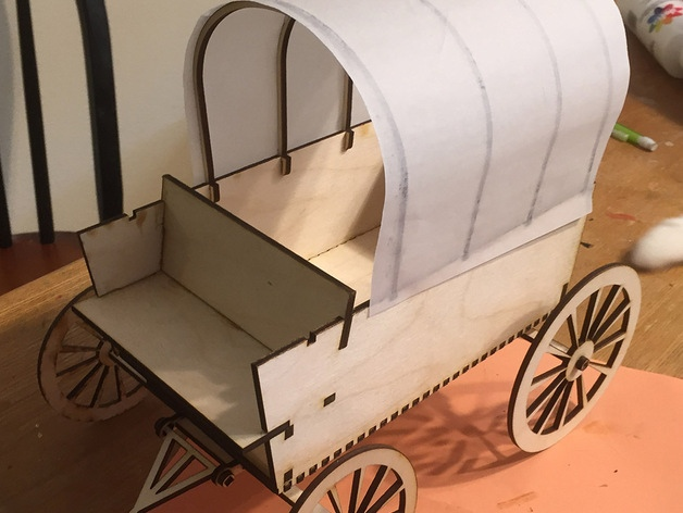 Laser Cutting 3D Puzzle Covered Wagon SVG File
