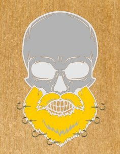 Laser Cut Skull With Beard Wall Hanger Free Vector