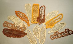 Laser Cut Wooden Bookmarks Feathers Free Vector