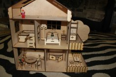 Laser Cut Dollhouse Kit 4Mm Template Free Vector