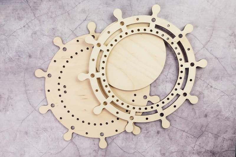 Laser Cut Nautical Ship Wheel Frame Wall Decor Free Vector